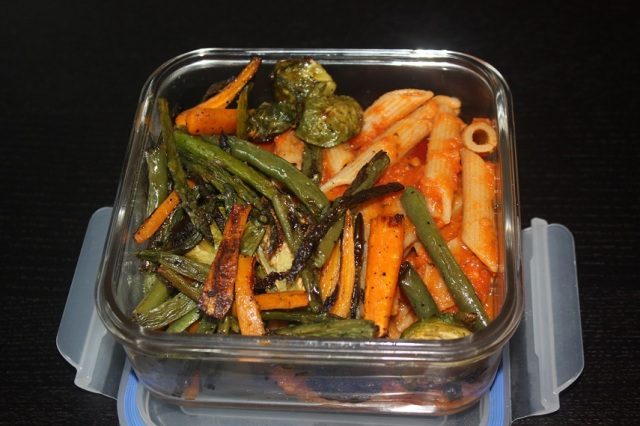 Whole Wheat Penne with Tomato Sauce and Roasted Vegetables